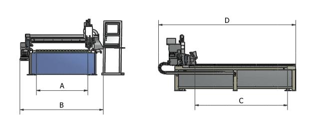 Maße START serie Astratec - Plasmaschneidmaschinen und Schweißautomatisierung